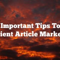 Learn Important Tips Towards Efficient Article Marketing