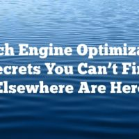 Search Engine Optimization: Secrets You Can't Find Elsewhere Are Here
