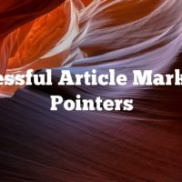 Successful Article Marketing Pointers