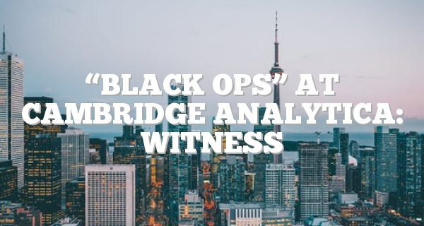 """Black ops"" at Cambridge Analytica: witness"